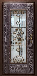 DPZ 0000034 ДПЗ одностворчатая левая наружу панель Массив дуба,цвет Марон с патиной.Стеклопакет с декоративной решеткой модель Ренесанс цвет порошкового напыления коричневый Цельнотянутый металлический наличник замок двухсистемный Ручка Calypso цвет старенная бронза,броненакладка CPR цвет старенная бронза,сувальдная накладка Pasini цвет старенная бронза