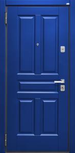 dpz_0000053 ДПЗ одностворчатая левая наружу панель Ультра краска на 16 мм рис.03цвет Синий цвет порошкового напыления серый Декоративный наличник У крашенный цвет синий Два замка.Основной цилиндровый,дополнительный сувальдный Ручка Milano никель матовый,броненакладка Mottura никель матовый,накладки на цилиндр и сувальд квадратные Fadex никель матовый,глазок