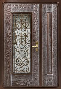 dpz_0000028 ДПЗ двустворчатая дверь левая наружу панель Массив дуба,цвет Марон с патиной.Стеклопакет с декоративной решеткой модель Готика цвет порошкового напыления коричневый Цельнотянутый металлический наличник замок двухсистемный Ручка Galaxy,цвет бронза,броненакладка Дисек (Disec), цвет бронза, сувальдная накладка Mottura, цвет бронза