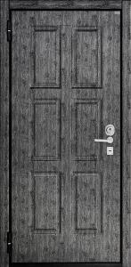 ДПЗ одностворчатая левая наружу Панель Эллит(пленка PVC на 16 мм),цвет Черное дерево серебро,рис.04 цвет порошкового напыления черный Декоративный наличник пленка PVC,цвет Черное дерево серебро замок двухсистемный Ручка Siena хром матовый,броненакладка CPR цвет хром матовый,сувальдная накладка Pasini цвет хром матовый