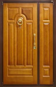 dpz_0000041 ДПЗ двустворчатая дверь левая наружу Панель Массив дуба цвет Золотой дуб,рисунок №11 цвет порошкового напыления коричневый Декоративный наличник Массив дуба,цвет Золотой дуб Один замок основной цилиндровый Ручка скоба М800 цвет латунь,кодовая накладка Cisa цвет латунь,защитный кожух,глазок,кольцо Luna цвет латунь